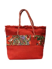 Red Matte Jute Handbag - ANGES BAGS