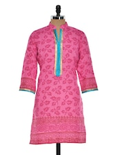Pink Printed Kurta With Long Turquoise Placket - Sohniye
