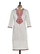 Elegant Off White Kurta With Rich Maroon Embroidery - Sohniye