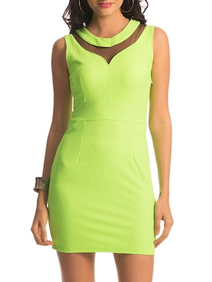 Lime green Mesh Paneled Chic Dress