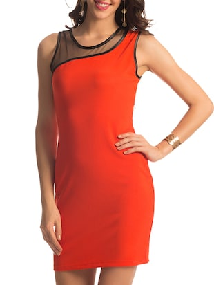 Orange One Shoulder Mesh Dress