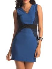 Blue Black Lace Applique Dress - PrettySecrets