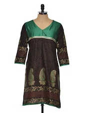 Printed Black Kurti With Green Yoke - RIYA