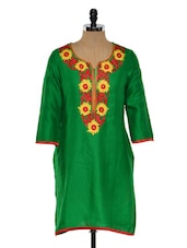 Bright Green Kurti With Embroidered Yoke - RIYA