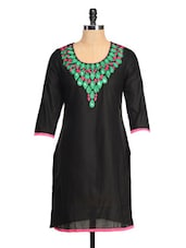 Black Kurti With A Pink And Green Neck - RIYA