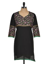 Solid Black Kurti With Floral Yoke - RIYA