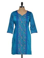 Bright Turquoise Printed Kurti - RIYA