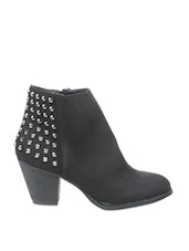 Black Boots Embellished With Metal Studs - COBBLERZ