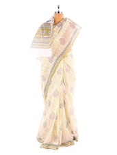 Off White Base Saree With Grey And Green Prints - Fabdeal