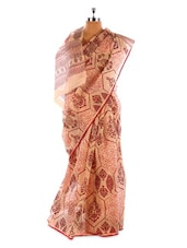 Beige And Maroon Cotton Saree - Fabdeal