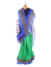 Blue And Green Bhagalpuri Silk Saree - Fabdeal