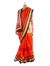 Orange And Beige Bhagalpuri Silk Saree - Fabdeal