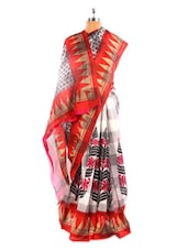 Red And White Bhagalpuri Silk Saree - Fabdeal