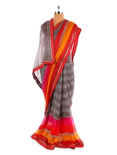 Grey Base Saree With Pink And Orange Border - Fabdeal