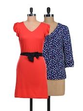 Set Of One Heart-print Top And Solid Red Dress - @ 499