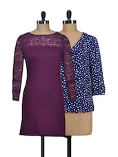 Set Of Hearts Top And Purple Lace Dress - @ 499