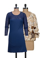 Set Of Off-white Printed Top And Solid Blue Dress - @ 499