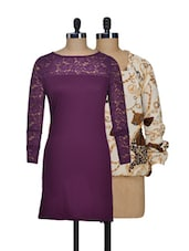 Set Of Off-white Printed Top And Solid Purple Dress - @ 499
