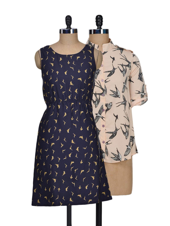 Set Of Cream Bats Print Top And Navy Blue Printed Dress - @ 499
