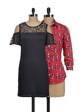Set Of Red Printed Top And Solid Black Lacy Dress - @ 499