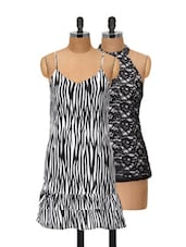 Lace And Prints Top And Dress Set - @ 499