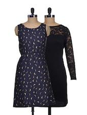 Set Of Solid Black Dress And Navy Bird Print Dress - @ 499
