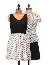 Set Of 2 Black And White Polka Dotted Dresses - @ 499