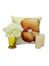 Artificial Flowers And Cushion Combo - Gifts By Meeta