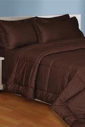 Brown  Plain King Size Bedsheet With 2 Pillow Covers - Salona Bichona
