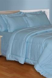 Light  Blue  Plain King Size Bedsheet With 2 Pillow Covers - Salona Bichona
