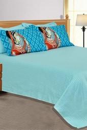 Blue Plain  1 Double Bedsheet With 4 Pillow Covers - Salona Bichona