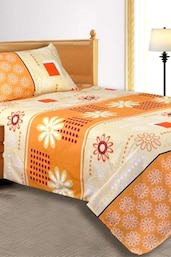 Orange Floral Bedsheet With 1 Pillow Cover - Salona Bichona