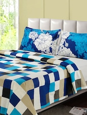 Blue And White Printed Double Bed Sheet, 2 Pillow Covers - Desi Connection