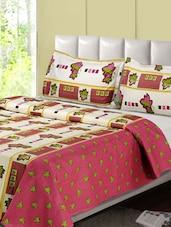 Leaf Print Cotton Double Bedsheet Set - Desi Connection