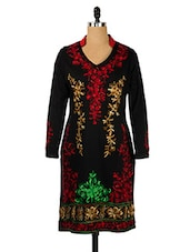 Black Collared Woollen Kurti With Multicoloured Embroidery - Nataasha Dubliish