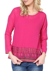 Pink Short-Sleeved Embroidered Top - L'elegantae