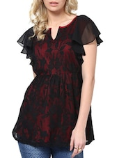 Red And Black Floral Top - L'elegantae