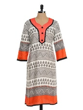 White And Black Printed Kurta With Orange Hem - Awesome
