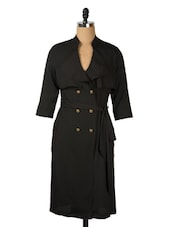 Double-breasted Black Tie-up Overcoat - Avirate
