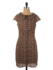 Floral Printed Collared Shift Dress - Avirate