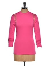 Studded Fuchsia Cotton Knit Top - STREET 9