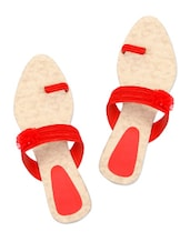 Red Comfortable Slip Ons With A Flower Trim - Grafion
