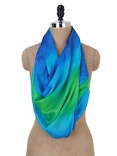 Blue And Green Tie And Dye Dupatta - Jaipur Vogue