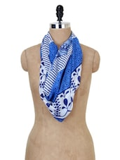 White And Blue Printed Stole - Jaipur Vogue