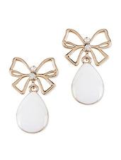 Golden Bow Earrings With White Stone - Svvelte