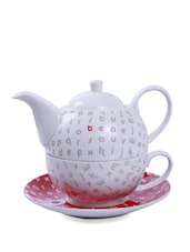 White And Red Tea Set Of Three Pieces - Symphony