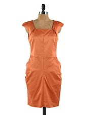 Cap Sleeved Satin Pumpkin Dress - Collezioni Moda
