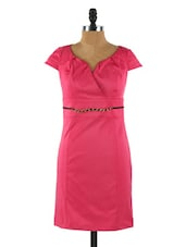 Cap Sleeved Satin Fuchsia Dress - Collezioni Moda