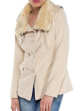 Cream Jacket With Fur Collar - TREND SHOP