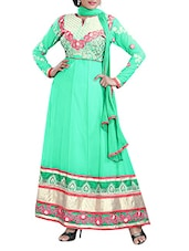 Unstitched Pale Green Embroidered Dress Material - 7 Colors Lifestyle